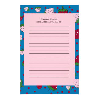 Personalized Cute Pink Blue Red Strawberry Stationery