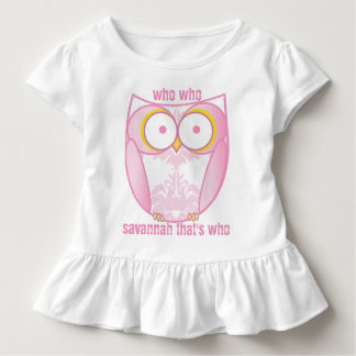Personalized Cute Pink Damask Owl T-shirt