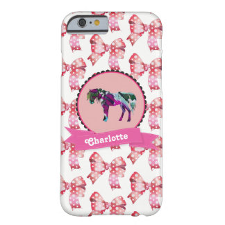 Personalized Cute Pink Modern Pony Barely There iPhone 6 Case