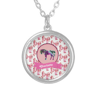 Personalized Cute Pink Modern Pony Silver Plated Necklace