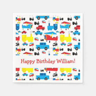 Personalized Cute Planes, Trains and Cars Birthday Paper Napkin