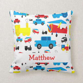Personalized Cute Planes, Trains and Cars Collage Cushions