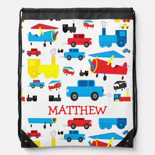 Personalized Cute Planes, Trains and Cars Collage Drawstring Backpack