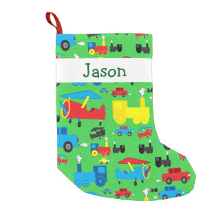 Personalized Cute Planes, Trains and Cars Pattern Small Christmas Stocking