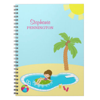 Personalized cute pool party girls notebook
