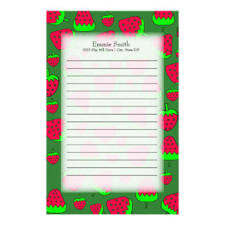 Personalized Cute Red Strawberries on Green Stationery