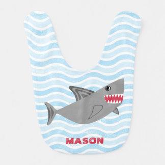 Personalized Cute Shark Blue Waves Bib