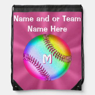 Personalized Cute Softball Drawstring Backpack