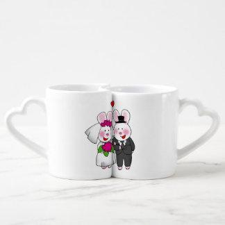 personalized cute wedding bunnies bride & groom couples mug