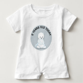 Personalized Cute White Polar Bear Birthday Baby Bodysuit
