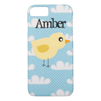 Personalized Cute Yellow Baby Chick with Clouds iPhone 7 Case