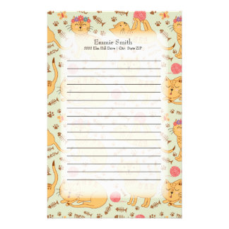 Personalized Cute Yellow Cats Stationery