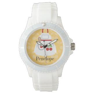 Personalized Cute Yellow Kitchen Apron Watch