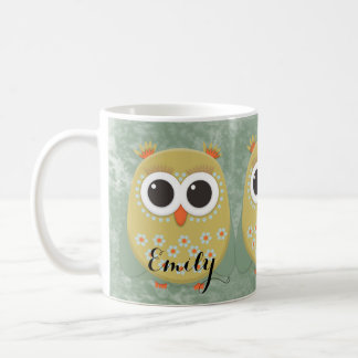 Personalized Cute Yellow Owls with Pigtails Mug