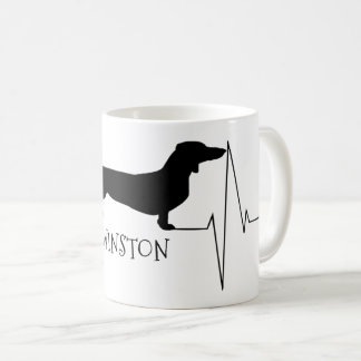 Personalized Dachshund Love My Dog Heart Beat Coffee Mug