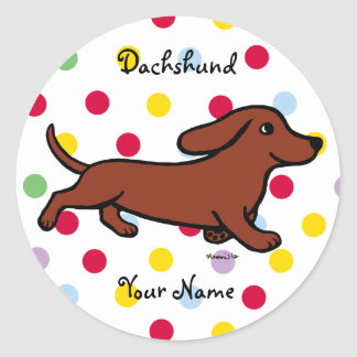 Personalized Dachshund Running Cartoon Round Sticker