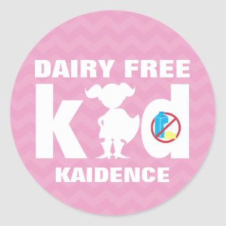 Personalized Dairy Free Super Girl Pink Chevron Classic Round Sticker