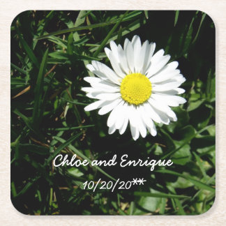 Personalized Daisy Wedding Square Paper Coaster