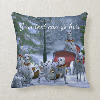 Personalized Dalmatians, Sleigh & Snow Christmas Cushion