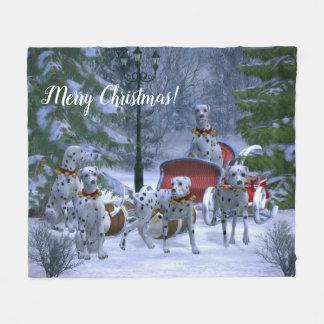 Personalized Dalmatians, Sleigh & Snow Christmas Fleece Blanket