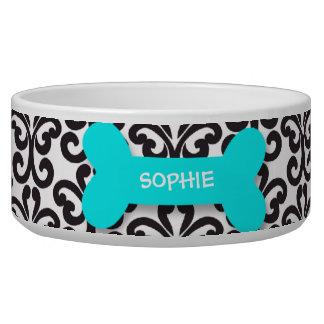 Personalized damask aqua dog bone pet food bowl