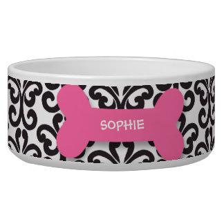 Personalized damask pink dog bone pet food bowl dog food bowl
