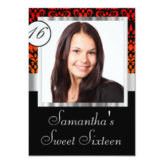 Personalized damask sweet sixteen 11 cm x 16 cm invitation card