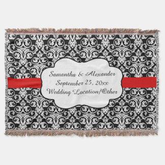 Personalized Damask Wedding Custom Keepsake Throw