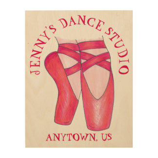 Personalized Dance Teacher Gift Ballet Shoe Studio Wood Wall Art