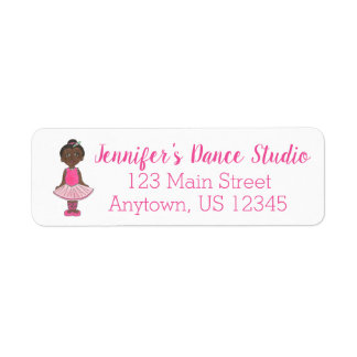 Personalized Dance Teacher Studio Pink Ballerina Return Address Label