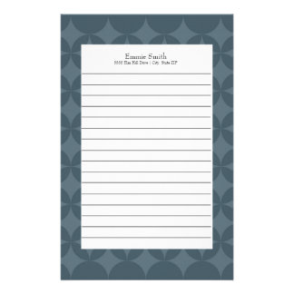 Personalized Dark Blue Abstract Lined Stationery