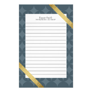 Personalized Dark Blue and Gold Lined Stationery