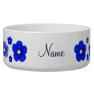 personalized Dark Blue Flower Dog Bowl
