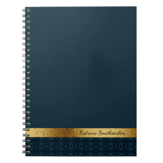 Personalized Dark Navy Blue and Gold Spiral Notebook