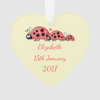 Personalized date of birth Ladybirds Nursery Ornament