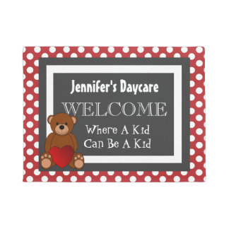 Personalized Daycare Fun Polka Dots Welcome Doormat
