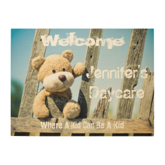 Personalized Daycare Rustic Bear Welcome Sign