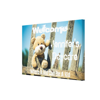 Personalized Daycare Rustic Bear Welcome Sign Canvas Print