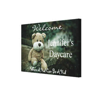 Personalized Daycare w/Bear Welcome Sign Canvas Print