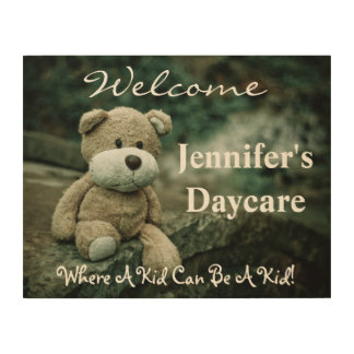 Personalized Daycare Welcome Sign w/Teddy Bear