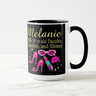 PERSONALIZED DAZZLING DIVA 50TH BIRTHDAY MUG