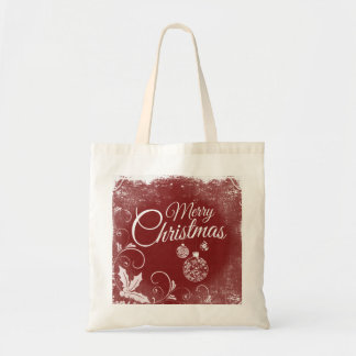 Personalized Decorative Merry Christmas Swirl Tote Bag