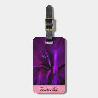 Personalized Deep Purple Iris Luggage Tag