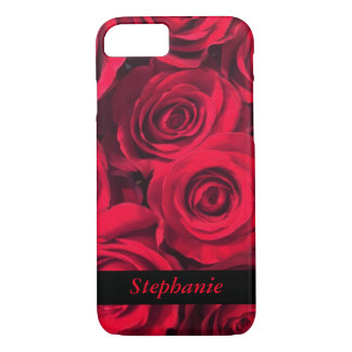 Personalized Deep Red Rose Blooms iPhone 7 Case