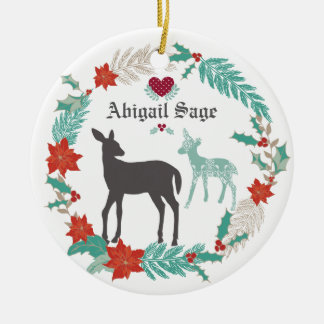 Personalized Deer and Wreath Baby's 1st Christmas Round Ceramic Decoration