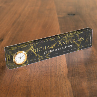 Personalized Desk NAME Plate Black GOLD MARBLE