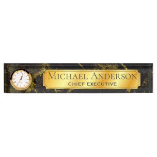 Personalized Desk NAME Plate Black GOLD MARBLE 2