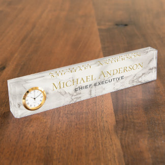 Personalized Desk NAME Plate White GREY MARBLE