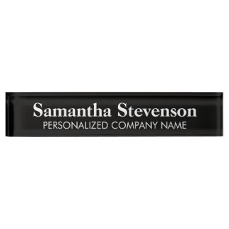 Personalized desk name plate with company title