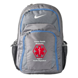 Personalized Diabetes  Medical Alert Backpack
